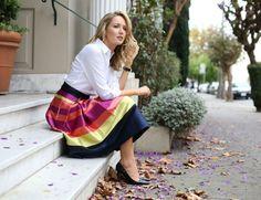 Striped Midi Skirt for Work | MemorandumMEMORANDUM, formerly The Classy Cubicle