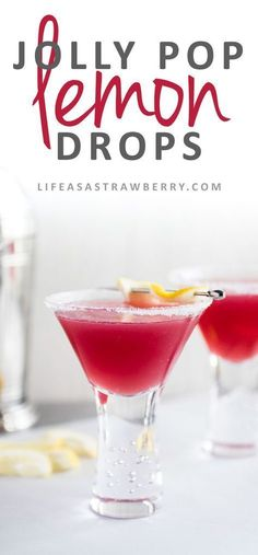 Lemon Drop Jolly Pops - These fun and easy cocktails are sure to be a hit! A simple lemon drop recipe with a bit of cranberry raspberry juice takes this vodka drink to a whole new level. Vegan, Vegetarian.