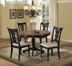 Embassy Five Piece Dining Set (Rubbed Black & Cherry Finish) - [4808DTB48C] : Decor South