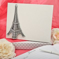 From Paris With Love Guest Book will add a touch of romantic flair to your reception. Wedding Guest Book features the iconic Eiffel Tower on its cover.