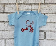Tricycle Baby Onepiece Bodysuit Hand Printed by CausticThreads, $18.00