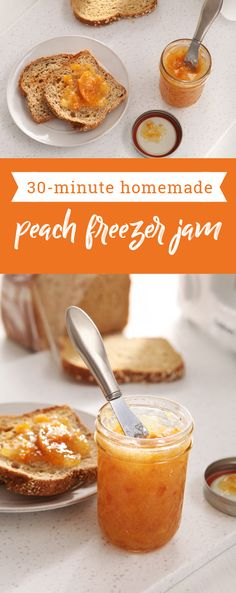 30 Minutes to Homemade SURE.JELL® Peach Freezer Jam – See one of the easiest ways to make a delicious fruit spread with this quick and simple recipe! Make a batch of this delicious jam to keep on hand for any breakfast baked goods that may pop onto the menu this summer.