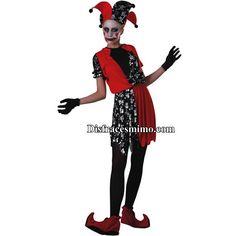Tu mejor disfraz bufon de mujer.Con este terrorífico disfraz de Bufón de la Muerte para mujer formarás parte del  circo siniestro. Es ideal para la noche de Halloween o fiestas de terror en Carnaval.Categoria:disfraces halloween adulto para mujer.Incluye: Vestido y sombrero.