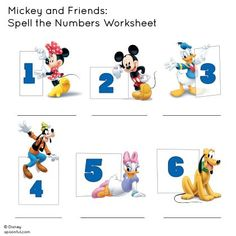 Mickey and Friends: Spell the Numbers Worksheet