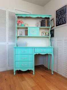 Turquoise Shabby Chic French Provincial Desk & Hutch - Vintage Girls Bedroom Furniture *this is the very same desk I had growing up w/ canopy bed 2 match.it was white,gold trim,same handles Shabby Chic Living Room, Shabby Chic Bedrooms, Trendy Bedroom, Girls Bedroom Furniture, Shabby Chic Furniture, Diy Bedroom Decor, Bedroom Ideas, Refurbished Furniture, Painted Furniture