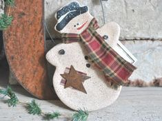 Items similar to Primitive Cinnamon Snowman Salt Dough Christmas / Winter Ornament Rustic Holiday Decor on Etsy Primitive Christmas, Primitive Snowmen, Primitive Ornaments, Primitive Crafts, Salt Dough Ornaments, Xmas Ornaments, Salt Dough Crafts, Snowman, Christmas Gifts