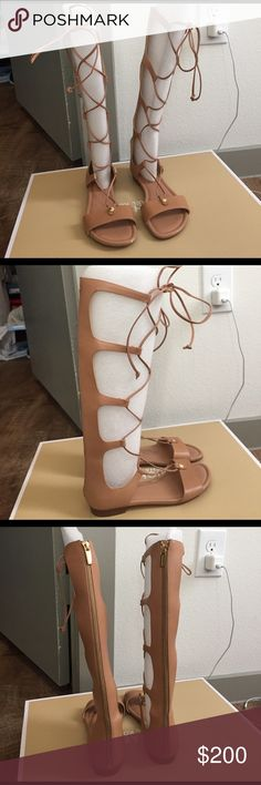 Suntan Sofia MK leather gladiators Like new small scratch in front of one sandal.  The perfect color! suntan stylish Sofia MK gladiator sandals.  Matches everything! MICHAEL Michael Kors Shoes Sandals