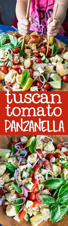 Classic Tomato Panzanella with a Caprese twist! This Tuscan bread salad is scrumptious and Summery, perfect for your next party or picnic!