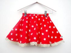 Red star print skirt bright colorful toddler dress girls childrens clothing elasticated waist size 12 18 24 months 2 3 4 years. £20.00, via Etsy.