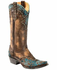 Old Gringo Erin Turquoise Floral Embroidered Cowgirl Boots - Snip Toe.