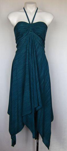 NWT Crinkle Tie Dye Halter Neck Handkerchief Hem Dress