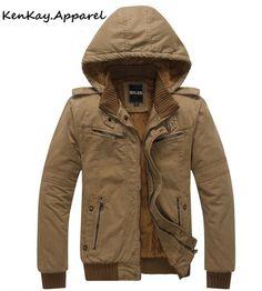 Mens Warm Bomber Jacket W/ Detachable Hood