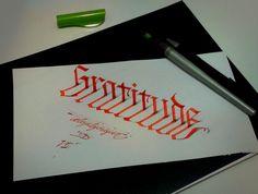 Gratitude 3D calligraphy by Tolga Girgin
