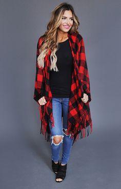 Red/Black Checkered Poncho - Dottie Couture Boutique