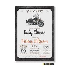 MOTORCYCLE BABY Shower Invitation. Motorbike Baby Shower Invite. It's A Boy Baby…