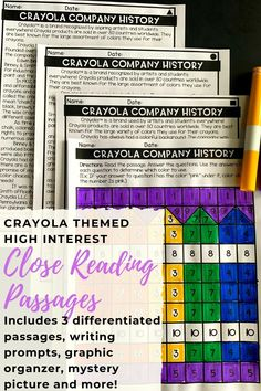 FREE crayola themed close reading passages!  This FREE set includes 3 differentiated passages, writing prompts, graphic organizer, mystery pictures and more!  Great for 3rd grade, 4th grade and 5th grade!  These high interest passages teach your students about the history of Crayola.  Includes text dependent questions an a motivating mystery picture to color!  Your students will LOVE close reading with this fun reading comprehension activity!