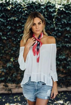 4th of july style for a casual day outfit! off the shoulder top, red white and blue scarf and distressed denim