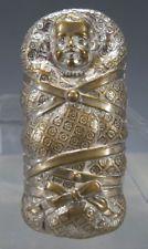 Antique c 1895 Embossed Nickel Plated Figural Baby Match Safe Holder Vesta yqz