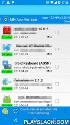 App Manager-copy/backup/send  Android App - playslack.com ,  [MN App Manager]- Fast performance of apk (Android application package file extension) manager.- Simplified user interface ever.[Features]- Support install/uninstall, searching apks in SD Cards, and also can search/extract apks from built-in memory and the system folder- Support sending apk as e-mail.- Support copying installed App and apks.- Support batch action that multiple install/uninstall even silent uninstall.- App…