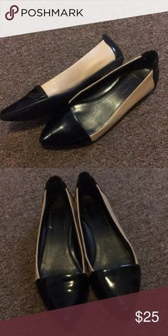 BCBG Flats Nice condition.  Black and cream patent leather with a comfy sole and pointy toe style. BCBGeneration Shoes Flats & Loafers