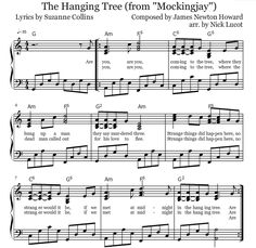 Mockingjay: The Hanging Tree Piano Sheets. The Hunger Games Mockingjay Part 1 OST. As sang by Jennifer Lawrence.  Composed by James Newton Howard and The Lumineers.