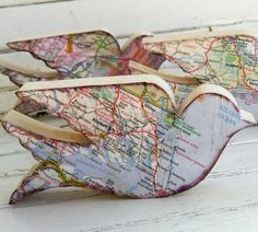 Creative Uses for Old Maps & Atlases. DIY upcycled - LOTS of nifty ideas!