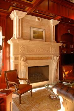 This beautiful Travertine fireplace was designed and installed by Carved Stone Creations.  The light color and old world charm of the travertine is a beautiful contrast to the rich warmth of the fantastic wood work.  The fireplace also features inlaid slabs of Forest Cafe Marble which offers a pleasant accent.  Click on the image to see a gallery of our other fireplace projects. #fireplaces