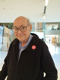 Day in the life of the Media Lab: Marvin Minsky sports a Minsky pin while visiting the Three Pioneers exhibit, featuring Marvin Minsky: http://www.media.mit.edu/events/2014/06/19/exhibit-three-pioneers