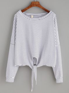 Shop White Striped Tie Front T-shirt online. SheIn offers White Striped Tie Front T-shirt & more to fit your fashionable needs.
