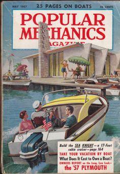 Popular Mechanics Magazine Boats 1957 Plymouth May 1957 Free US S/H