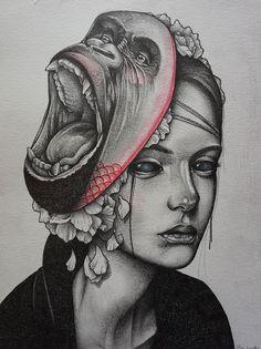 Gorilla woman illustration by Miss Sucette #sad #animal #art