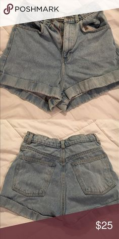 American apparel high waisted jean shorts Cuffed light wash American apparel high waisted jean shorts American Apparel Shorts Jean Shorts