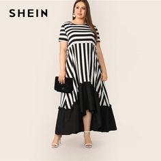 Plus Size Black And White High Low Hem Striped Dress 2019 Women Summer Modest Casual Ruffle Hem High Waist A Line Dresses Shift Clothing, Modest Clothing, Modest Outfits, Women's Clothing, Plus Size Dresses, Plus Size Outfits, White Maxi, Skirt Fashion, Jeans Fashion