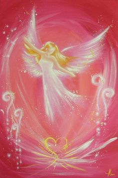 "Hendriettes Art. Limited angel art photo ""easiness"" , modern angel painting, artwork, picture frame, gift,"