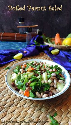 A healthy, crunchy and an easy-to-make salad prepared from boiled peanuts and veggies. Peanuts add a crunch to any dish, be it in raw form, roasted or boiled. Vegetarian Salad Recipes, Healthy Salads, Vegetable Recipes, Healthy Recipes, Vegetable Salad, Vegetarian Appetizers, Healthy Detox, Healthy Food, Indian Salads