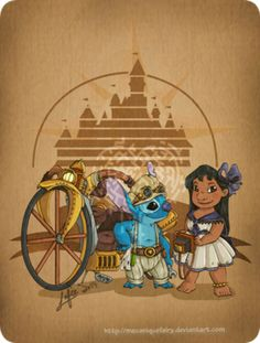 Disney steampunk: Lilo and Stitch by MecaniqueFairy on @DeviantArt