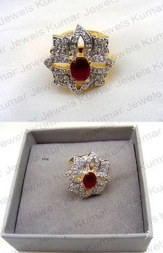Other Asian E Indian Jewelry 11313: Beautiful Cubic Zirconia Crafted Ruby Stone Beaded Gold Plated Finger Ring -> BUY IT NOW ONLY: $43 on eBay!