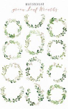 Watercolor Green Leaf Clip Art - Illustrations - 4