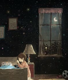 Image about painting in Good Night ✨ by 𝕄ⅈ𝕊𝕊🌸🌸𝔽𝕃𝕆𝕎𝔼ℝ ⍟ Art And Illustration, Beautiful Dream, Moon Art, Anime Scenery, Anime Art Girl, Belle Photo, Good Night, Watercolor Art, Art Drawings