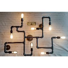 Black Pipe Industrial Modern 8x Wall or Ceiling Mount Light Fixture... ($275) ❤ liked on Polyvore featuring home, lighting, ceiling lights, black chandelier light, black chandelier, black lamp, black lights and black chandelier lighting