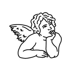 Pesar Tattoo - Semi-Permanent Tattoos by inkbox™ - Inkbox™ Sketches, Line Art Drawings, Illustration, Art Drawings, Drawings, Angel Drawing, Tattoo Stencils, Canvas Art, Angel Outline