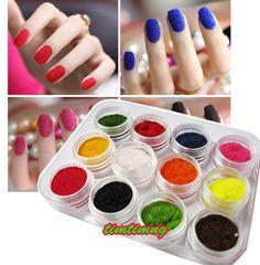 SET OF 12 Colour Velvet Flocking Powder FOR Velvet Manicure Nail ART Polish Tips | eBay
