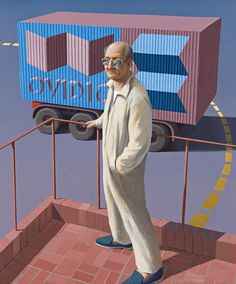 Great Australian writer David Malouf painted by wonderful Australian artist, Jeffrey Smart.