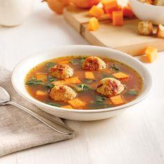 Soupe aux boulettes de poulet et gingembre - Les recettes de Caty Chana Masala, Cheeseburger Chowder, Thai Red Curry, Menu, Lunch, Vegan, Cooking, Ethnic Recipes, Food