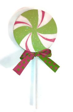 Giant Fake Lollipop Hot Pink and Lime Green by GlamCandyBoutique