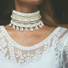 Check out this item in my Etsy shop https://www.etsy.com/listing/474575812/cowrie-shell-choker-wedding-white