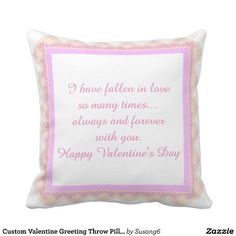 Custom Valentine Greeting Throw Pillow, Pink Lace Throw Pillow
