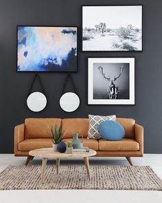OZ Design Furniture // Artworks. Tan leather lounge. Rug ... everything!!