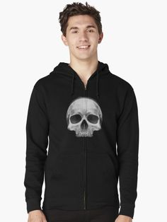 """""""White Skull """" Zipped Hoodie by LunchboxPrint 