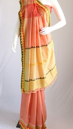 Peach-coloured handloom cotton saree with an by KritiKala on Etsy